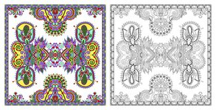Coloring pages, coloring book for adults, authentic carpet desig stock photos