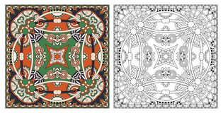Coloring pages, coloring book for adults, authentic carpet desig royalty free stock photography
