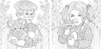 Coloring Pages. Coloring Book for adults. Colouring pictures with kids holding furry animals drawn in zentangle style. Vector vector illustration