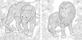 Coloring Pages. Coloring Book for adults. Colouring pictures with panther and lion. Antistress freehand sketch drawing with doodle. And zentangle elements stock illustration