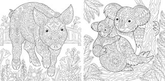 Coloring Pages. Coloring Book for adults. Cute Pig - 2019 Chinese New Year symbol. Colouring picture with koala bears. Antistress. Freehand sketch drawing with stock illustration