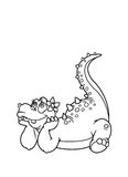 Coloring pages dinosaur. Kids  paint coloring pages dinosaur dreaming girl Stock Photography