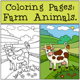 Coloring Pages: Farm Animals. Cute cow. Royalty Free Stock Photo