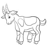 Coloring pages. Farm animals. Cute goat. Coloring pages. Farm animals. Cute goat smiles Royalty Free Stock Image