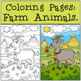 Coloring Pages: Farm Animals. Cute goat. Royalty Free Stock Photos