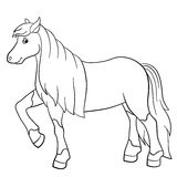 Coloring pages. Farm animals. Cute horse. Coloring pages. Farm animals. Cute horse with beautiful mane and tail smiles Stock Photos