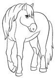 Coloring pages. Farm animals. Cute horse. Coloring pages. Farm animals. Cute horse smiles Stock Photos
