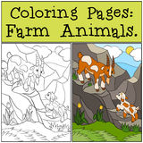 Coloring Pages: Farm Animals. Father goat with his little baby Royalty Free Stock Image