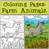 Coloring Pages: Farm Animals. Little cute donkey. Coloring Pages: Farm Animals. Little cute donkey stands on the grass near the fence and smiles stock illustration