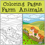Coloring Pages: Farm Animals. Little cute pony. Stock Images
