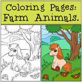 Coloring Pages: Farm Animals. Little cute pony. Stock Photo