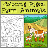 Coloring Pages: Farm Animals. Mother Goat With Her Baby. Stock Photos