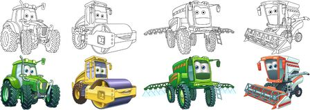 Free Coloring Pages For Kids. Farm Tractors Royalty Free Stock Image - 192192436