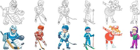 Free Coloring Pages For Kids. Hockey And Skates Stock Image - 186109311