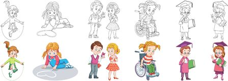 Free Coloring Pages For Kids. School Children Stock Photo - 186109330