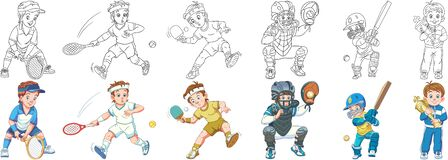Free Coloring Pages For Kids. Tennis, Baseball And Cricket Stock Image - 186109341