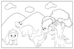 Free Coloring Pages For Kids With Cute Dinosaur Royalty Free Stock Image - 189653926