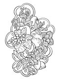 Coloring pages with fruits and abstract waves for children and a royalty free illustration