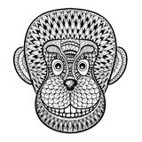 Coloring pages with head of Monkey, Gorilla, zentangle illustrat Stock Image
