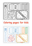 Coloring pages for kids with lunch tray. Coloring pages for kids. Lunch tray. Line style. Vector illustration Stock Image