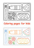 Coloring pages for kids with lunch tray. Coloring pages for kids. Lunch tray. Line style. Vector illustration Royalty Free Stock Photography