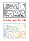 Coloring pages for kids. Lunch tray. Line style. Vector illustration Stock Photography