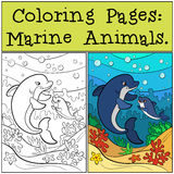 Coloring Pages: Marine Animals. Mother dolphin swims  Royalty Free Stock Images
