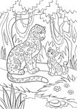 Coloring pages. Mother jaguar with her cub. Royalty Free Stock Images