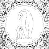 Coloring pages. Mother penguin stands with her little cute baby. Coloring pages. The penguin mother is standing with her little cute baby. New Year`s card, tag Royalty Free Stock Photography