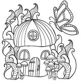 Coloring pages mushroom house with a butterfly in the fores Stock Photography