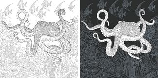 Coloring pages with Octopus. Coloring Page. Coloring Book. Colouring picture with Octopus drawn in zentangle style. Antistress freehand sketch drawing. Vector stock illustration