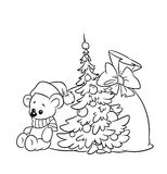 Coloring pages plush teddy Christmas Royalty Free Stock Photos