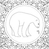 Coloring pages. A polar bear stands in the snow. A winter postcard. Coloring pages. A polar bear stands in the snow. A winter postcard Stock Photography