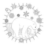 Coloring pages. A polar bear stands in the snow. A winter postcard. Coloring pages. A polar bear stands in the snow. A winter postcard Royalty Free Stock Images