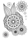 Coloring pages. Round Ornament Vintage decorative elements. Blak and white. Stock Photo