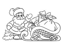Coloring pages Santa Claus and Christmas gifts Stock Photos