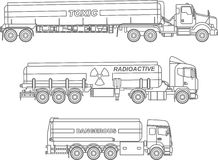 Coloring pages. Set of different kind cistern trucks carrying chemical, radioactive, toxic, hazardous substances flat Royalty Free Stock Photography