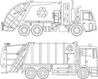 Coloring pages. Set of different kind garbage trucks flat linear icons isolated on white background. Vector illustration royalty free illustration