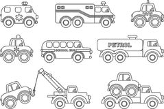 Coloring pages. Set of different silhouettes children toys  Stock Photos