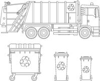 Coloring pages. Set of garbage truck and different types of dumpsters flat linear vector icons isolated on white background. Vecto Stock Photo