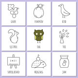 Coloring pages symbols of autumn Stock Image