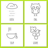 Coloring pages symbols of autumn Stock Images