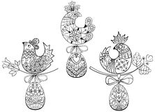 Coloring pages with symbols of Easter chick egg Royalty Free Stock Image