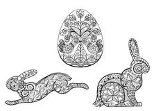 Coloring pages symbols of Easter egg hare rabbit Royalty Free Stock Photography