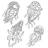 Coloring pages in vector graphic illustration for children and a. Dults with ocean animals such as jellyfish, plankton and others stock illustration