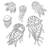 Coloring pages in vector graphic illustration for children and a. Dults with ocean animals such as jellyfish, plankton and others royalty free illustration