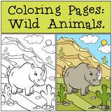 Coloring Pages: Wild Animals. Cute rhinoceros. Stock Photo
