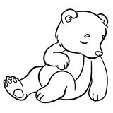 Coloring pages. Wild animals. Little cute baby bear sleeps. Stock Photos
