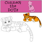 Coloring pages. Wild animals. Little cute baby tiger. Stock Photos