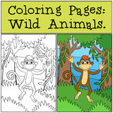 Coloring Pages: Wild Animals. Little cute monkey. Royalty Free Stock Photos